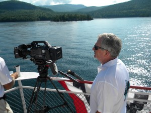 Filming from boat on Lake George NY